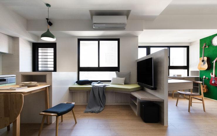 開放式客餐廳 邑田空間設計 Eclectic style living room