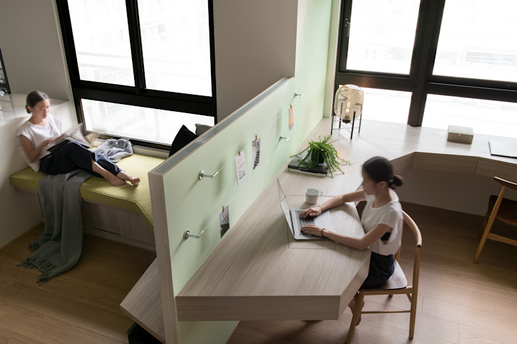 整體空間主線條 邑田空間設計 Eclectic style study/office