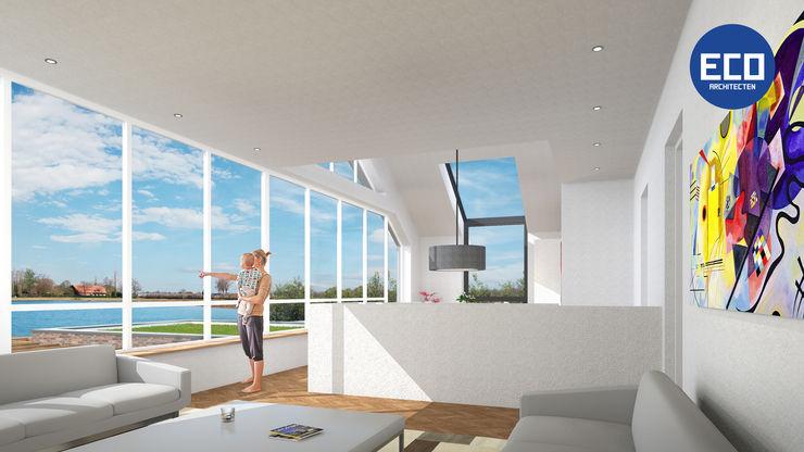 ECO architecten 现代客厅設計點子、靈感 & 圖片