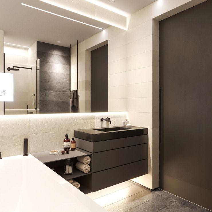 Апартаменты Europa City от бюро Suite n.7 Suiten7 Ванная комната в стиле минимализм Керамика Коричневый
