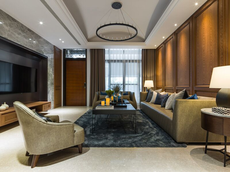 大片的落地窗讓客廳光線充足 湘頡設計 Living room