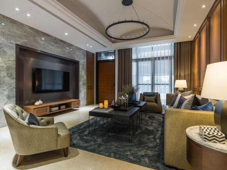 大理石牆面內嵌電視,氣派又高雅 湘頡設計 Living room
