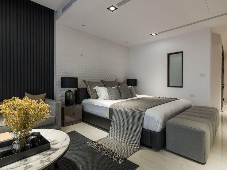 灰白色的色調讓人感覺到舒適祥和 湘頡設計 Small bedroom Grey