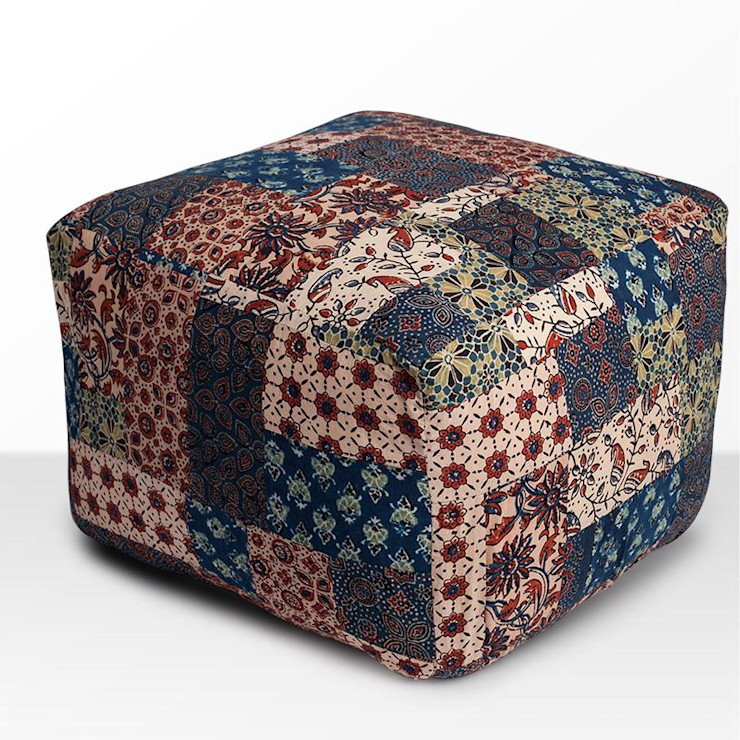 Red-Blue-Green Banni Patchwork Pouffe Sihasn Living roomStools & chairs Cotton Multicolored