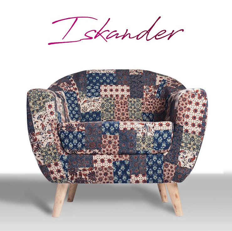 Red-Blue-Green Banni Patchwork Accent Chair Sihasn Living roomSofas & armchairs Cotton Multicolored