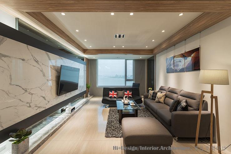 客廳全景 Hi+Design/Interior.Architecture. 寰邑空間設計 Living room