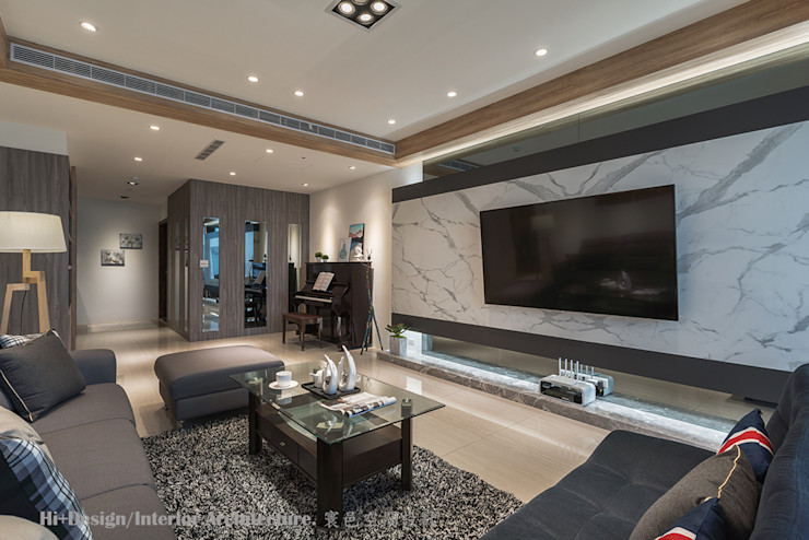 客廳玄關區 Hi+Design/Interior.Architecture. 寰邑空間設計 Living room