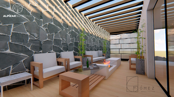 GóMEZ arquitectos Rustic style balcony, veranda & terrace