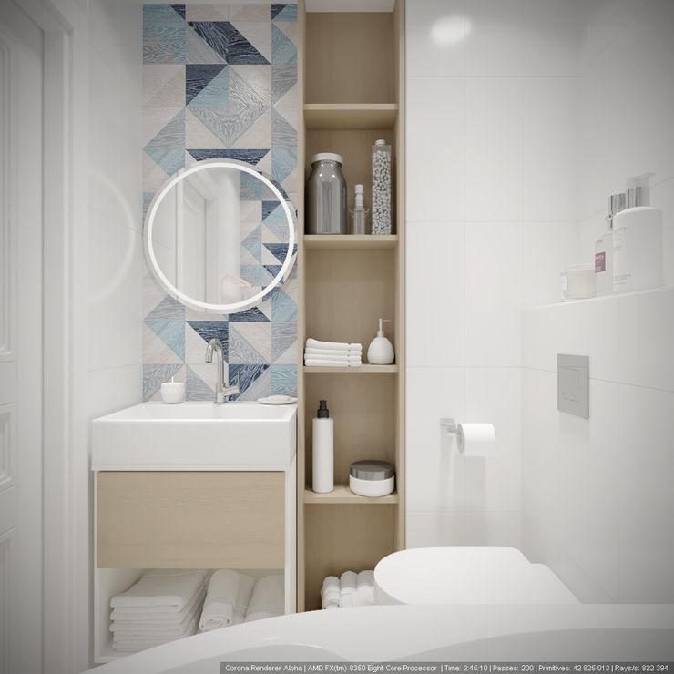 Однокомнатная квартира в которой есть всё дизайн-бюро ARTTUNDRA Ванная в классическом стиле Синий