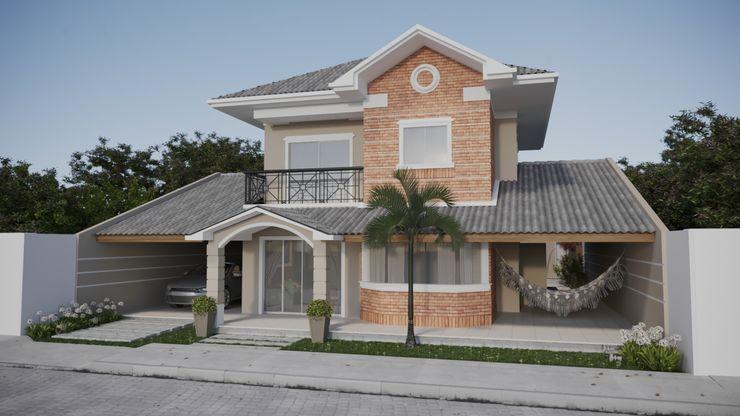 Fachada Projeto Casa Estilo Mediterrâneo com detalhe em tijolinho | RJ Gelker Ribeiro Arquitetura | Arquiteto Rio de Janeiro Casas coloniais