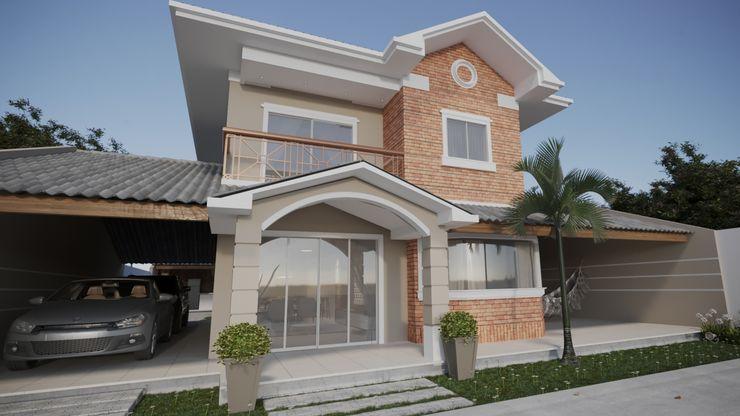 Portal de entrada da casa de praia estilo mediterranêo | RJ Gelker Ribeiro Arquitetura | Arquiteto Rio de Janeiro Casas pequenas Tijolo