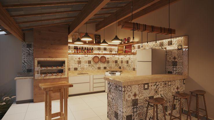 Área de Lazer Churrasqueira | RJ Gelker Ribeiro Arquitetura | Arquiteto Rio de Janeiro Armários e bancadas de cozinha Derivados de madeira Castanho