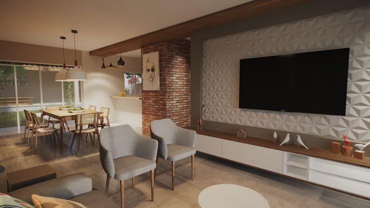 Sala de estar integrada | RJ Gelker Ribeiro Arquitetura | Arquiteto Rio de Janeiro Salas de estar modernas Madeira