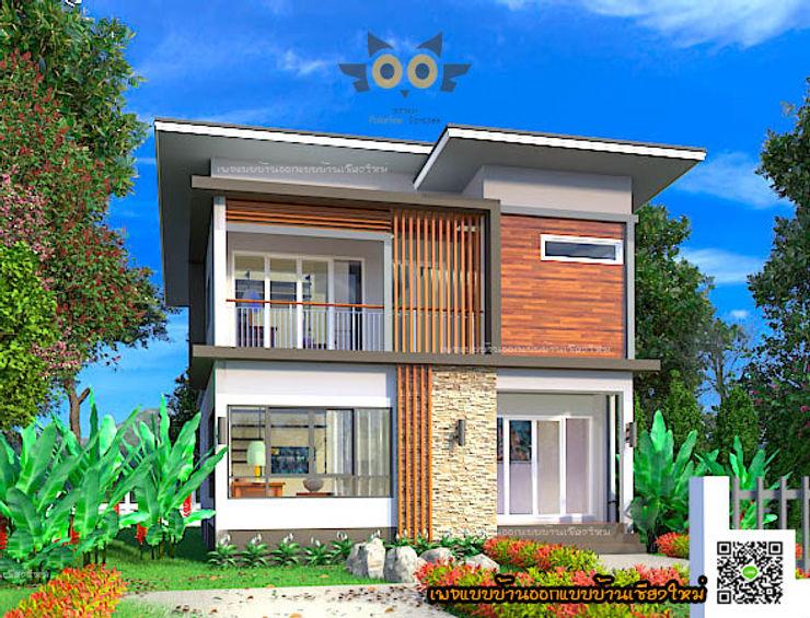 บ้านพักอาศัยสองชั้น อ.สันป่าตอง จ.เชียงใหม่ แบบบ้านออกแบบบ้านเชียงใหม่ บ้านสำหรับครอบครัว คอนกรีต Brown