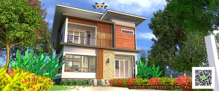 บ้านพักอาศัยสองชั้น อ.สันป่าตอง จ.เชียงใหม่ แบบบ้านออกแบบบ้านเชียงใหม่ บ้านและที่อยู่อาศัย คอนกรีต Brown