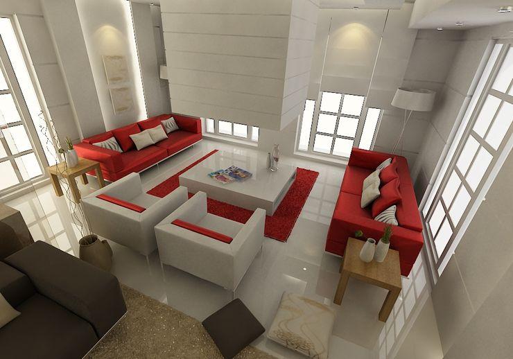 Bodrum Ev Tasarımı / Oturma Odası ŞEBNEM MIZRAK Modern Oturma Odası Mermer Kırmızı