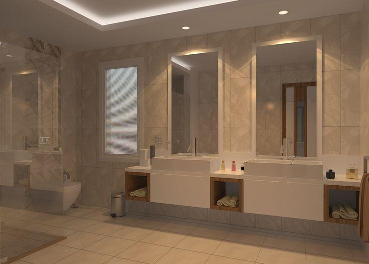 Bodrum Ev Tasarımı ŞEBNEM MIZRAK Modern Banyo Ahşap Beyaz