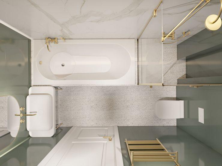 Легкая классика в изумрудных оттенках. Бюро Suite n.7 Suiten7 Ванная в классическом стиле Медь / Бронза / Латунь Белый