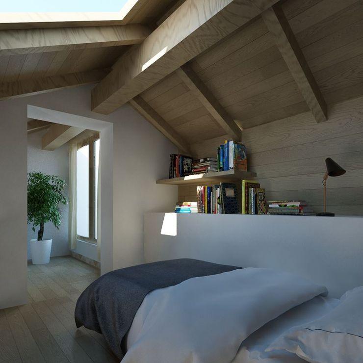 il soppalco Ing. Massimiliano Lusetti Camera da letto piccola Legno Beige
