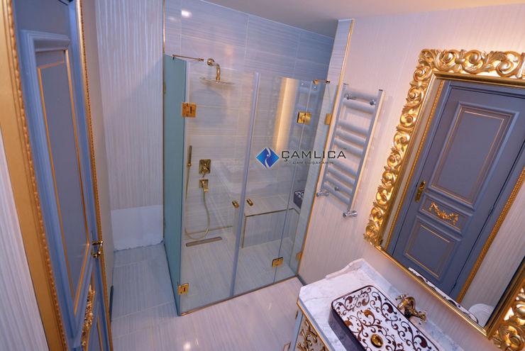 Gol Duşakabin Serisi Çamlıca Duşakabin Modern Banyo Cam Altın Sarısı