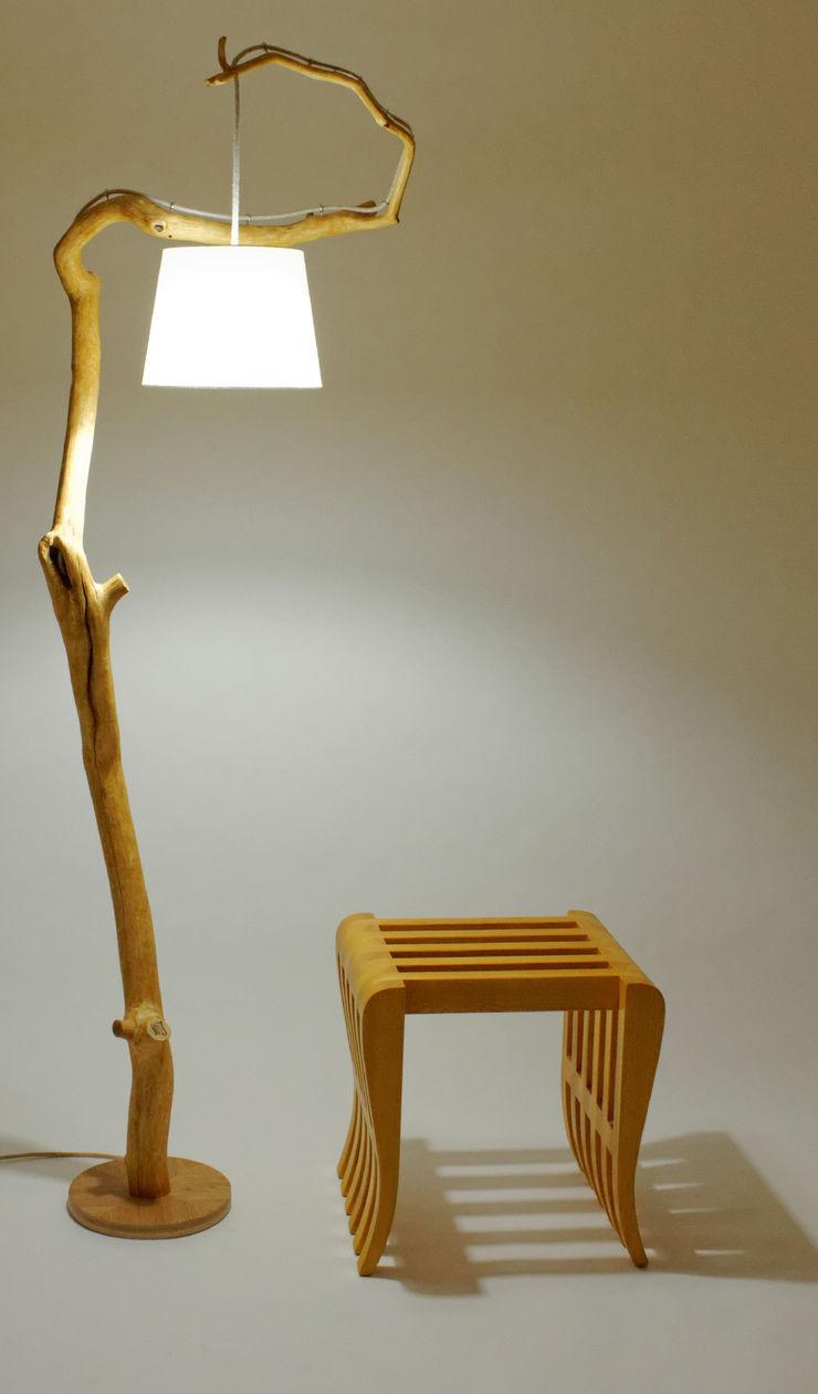 Floor lamp with natural oak branches, Art, wild oak Meble Autorskie Jurkowski BedroomLighting Wood White
