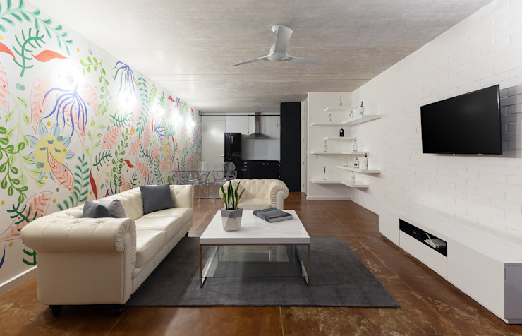 Daniel Cota Arquitectura   Despacho de arquitectos   Cancún Living room Concrete White