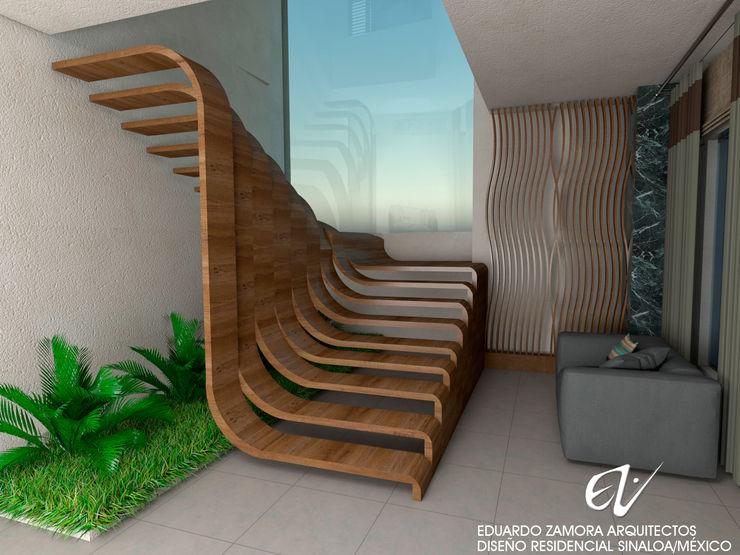 Fachada Resiencia Eduardo Zamora arquitectos Escaleras Madera