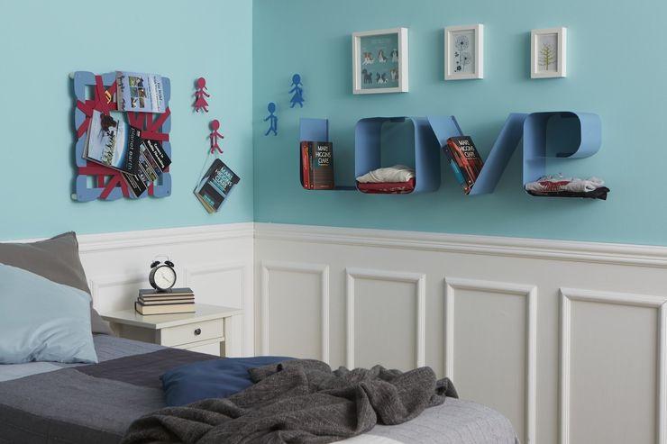 Camera da letto con portaoggetti GLAM, mensola LOVE e Stickman JOHN & MARY Mipiacemolto CasaAccessori & Decorazioni Metallo
