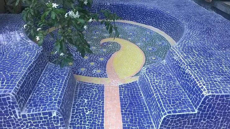 The Nili Bagh Baghorama Landscape Architects Garden Shed Ceramic Blue