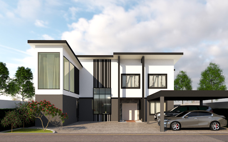 บ้านคุณกิต บริษัท พี นัมเบอร์วัน ดีไซน์ แอนด์ คอนสตรัคชั่น จำกัด บ้านและที่อยู่อาศัย