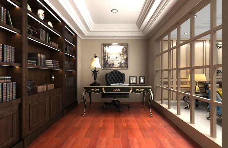 書房設計 麥斯迪設計 Classic style study/office Solid Wood Beige