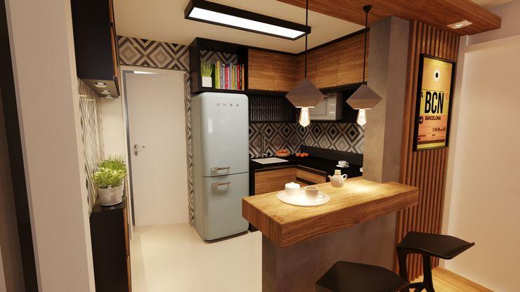 Cozinha aberta Gelker Ribeiro Arquitetura | Arquiteto Rio de Janeiro Cozinhas pequenas Madeira Ambar/dourado
