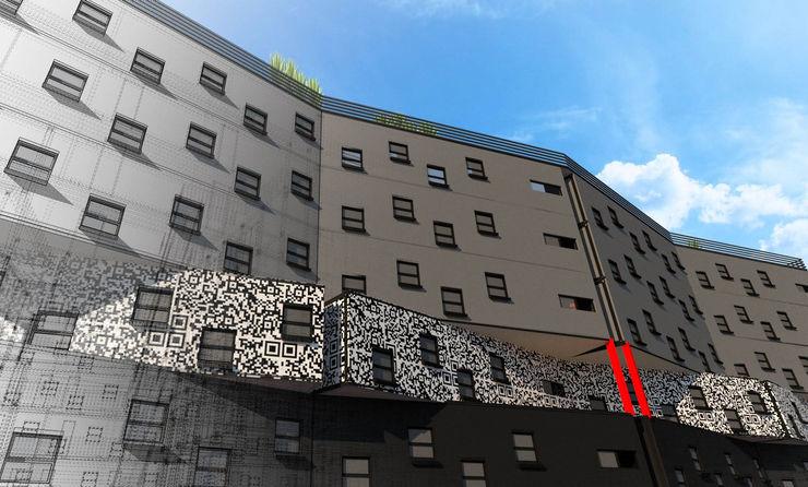 Side facade A4AC Architects 飯店 鐵/鋼 Grey
