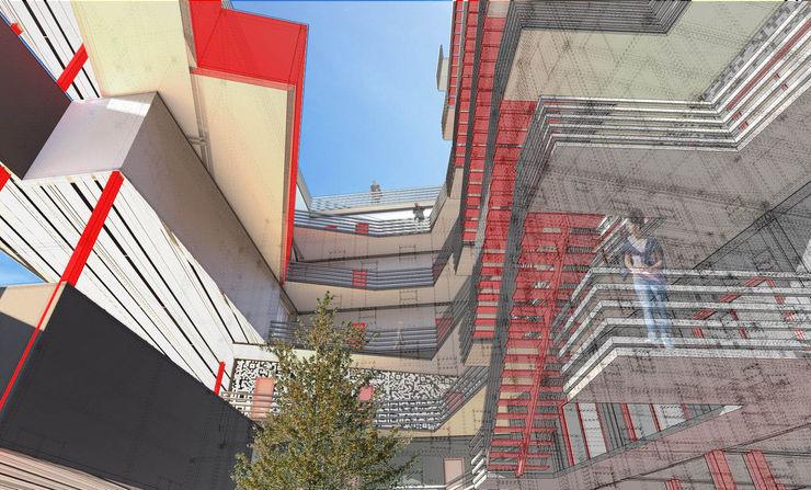 Atrium A4AC Architects 飯店 鐵/鋼 Red