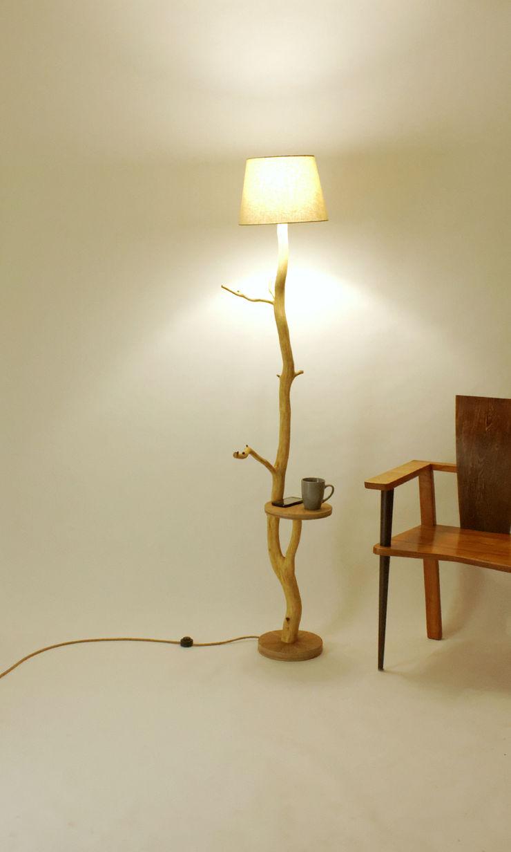 Floor lamp, flowerbed, coffee table, wood lamp, wild oak, branch lamp, shelf, lamp of weathered old Oak branch, living room lamp Meble Autorskie Jurkowski Living roomLighting Wood White