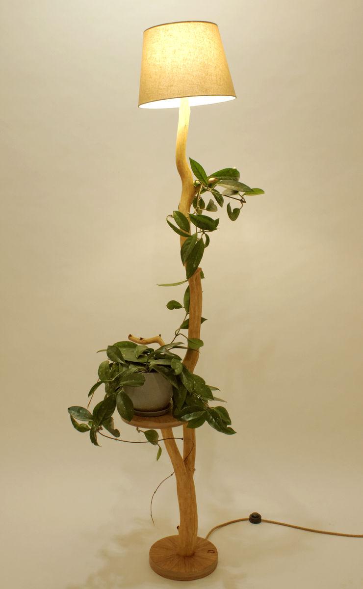 Floor lamp, flowerbed, coffee table, wood lamp, wild oak, branch lamp, shelf, lamp of weathered old Oak branch, living room lamp Meble Autorskie Jurkowski Dining roomLighting Wood Beige