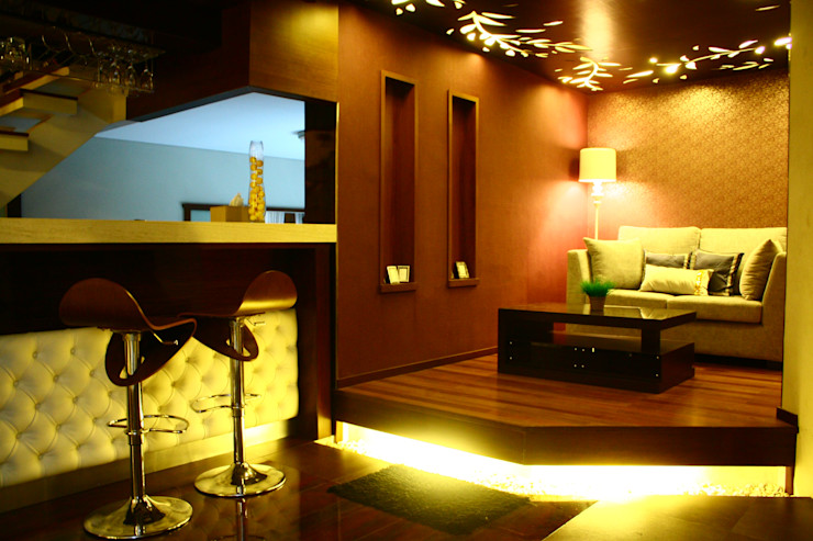 Romantic lounge & living room kota wisata cibubur Exxo interior Ruang Media Modern