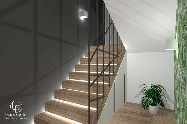 Klatka schodowa z autorskim projektem balustrady Pracownia Projektowa BOPROJEKT Schody