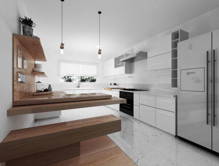 GA Experimental Cocinas de estilo minimalista Cuarzo