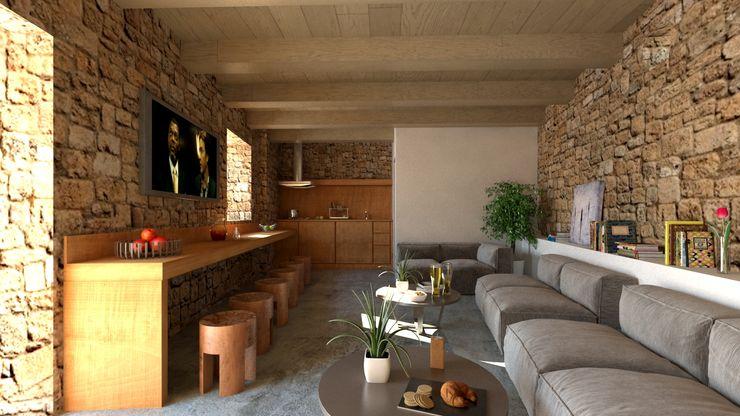 Una cantina riattata come spazio colazione Ing. Massimiliano Lusetti Cantina minimalista Beige