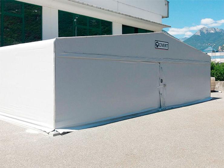 Coperture mobili in PVC Capannoni mobili e Coperture Civert Garage/Rimessa Ferro / Acciaio