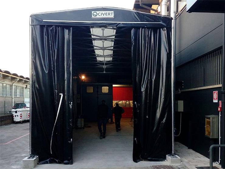 Tunnel mobile retrattile Capannoni mobili e Coperture Civert Garage/Rimessa in stile industriale Ferro / Acciaio