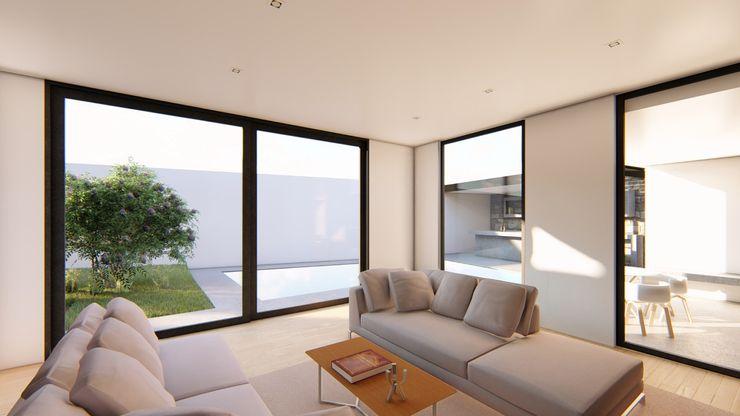 LIVINGROOM GRUPO VOLTA Salones modernos Blanco