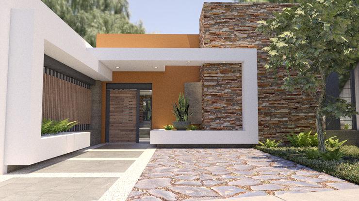 Residencia las Fuentes, Puebla. URBAO Arquitectos Casas unifamiliares Concreto Acabado en madera