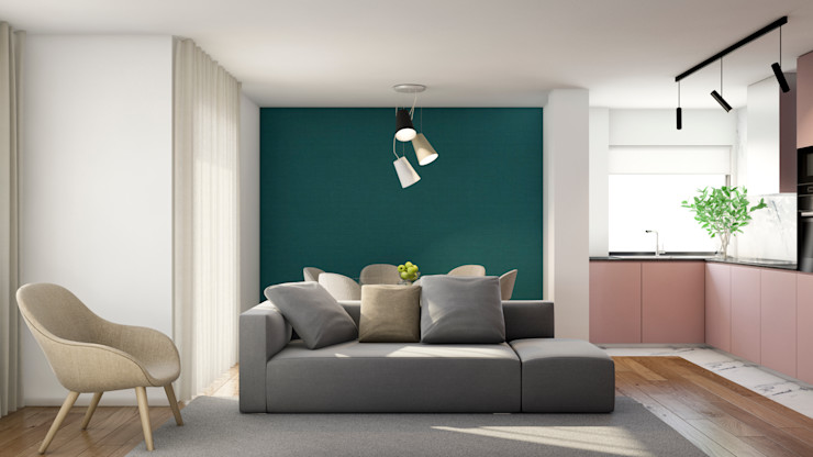 Sala de estar e jantar integrada com cozinha. Alma Braguesa Furniture Salas de estar escandinavas Cinzento