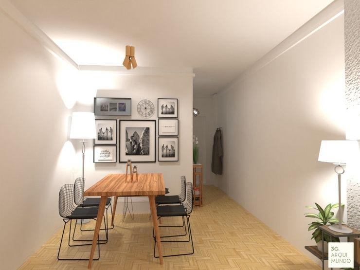 Arquimundo 3g - Diseño de Interiores - Ciudad de Buenos Aires Scandinavian style dining room Wood White