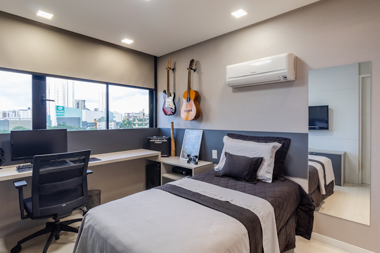 Quarto de solteiro/ Cama/ Escrivaninha Arquitetura Sônia Beltrão & associados Salas de jantar modernas MDF Cinza