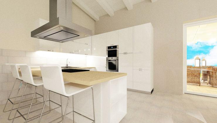 Bianco e Luce per l'open space TOBEHOME INTERIORS Cucina moderna Legno Bianco