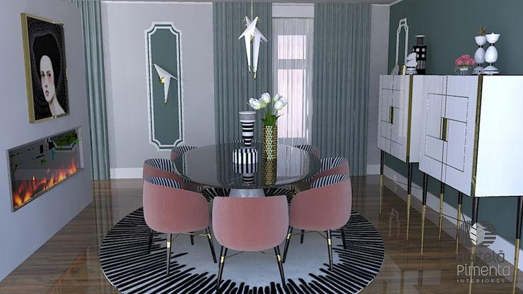 Imagem 3D zona refeição Hortelã Pimenta Interiores Salas de jantar modernas