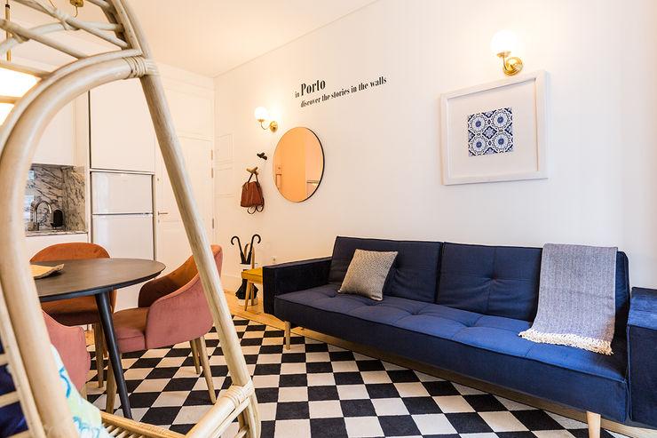 Sala - Janelas de S. Bento, Porto - SHI Studio Interior Design ShiStudio Interior Design Salas de estar escandinavas